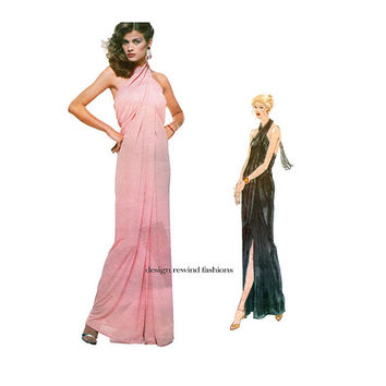 Vogue 2014 HALTER DRESS PATTERN Wedding Gown Disco Evening Gown Maxi Dress Vogue Paris Original Bust 32.5 UNCuT 1970s Womens Sewing Patterns