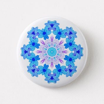Flower Mandala Violet Blue Watercolor Floral Art Button