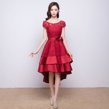 Front Short Back Long Wine Red Evening Dress for Bridal Wear Lace and Stain High Low Girls Special Occasion Dresses Party Gowns