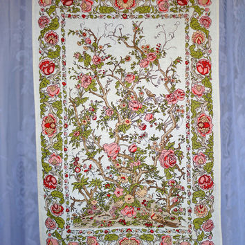 Vintage Tea Towel Irish Linen and Cotton Mix 'Kashmir' Beautiful Floral Tree of Life print in coral, pink, green, brown and cream