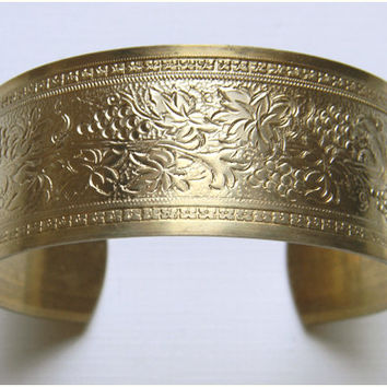 Raw Brass Floral Grapes Leaves Victorian Style Cuff Bracelet - 1 pc.