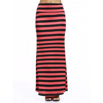 Casual Style Black And Red Stripe Print Maxi Skirt For Women