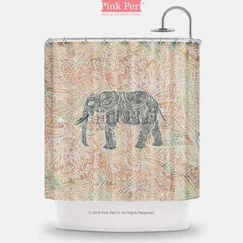 Tribal Paisley Elephant Colorful Henna Pattern Shower Curtain Home & Living 140