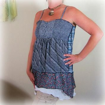 Womens Lagenlook Tunic, OOAK Upcycled, ON SALE-25% OFF! Altered Couture by Pandora's P