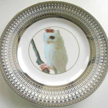 Silver Owl Bird Dinnerware Plates Owl Dishes, Bird Plate, Owl China, Owl Dinnerware Set, Rockabilly Plates, Owl China, Rockabilly Dishes