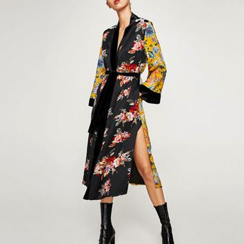 Floral Print Longline Women Kimono With Self Tie 2018 Autumn Long Sleeve Casual Kimono Ladies Vintage Kimon0