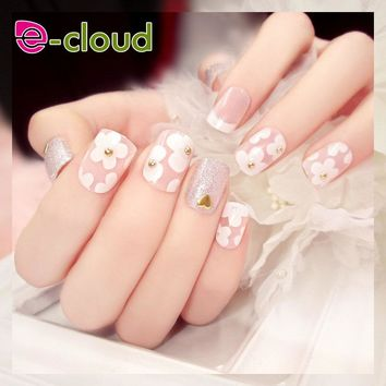 Charming False Nails 24 pcs Full Cover Round Head with Glitter Finished Nail Tips with Glue sticker fashion printing Fake Nails