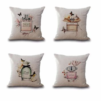 """Cotton Linen Square 18"""" Brand Perfume Bottle and Butterfly Printed Sofa Decorative Cushion Covers Room Chair Pillow Case"""