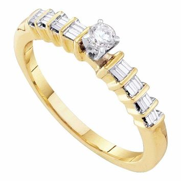 10kt Yellow Gold Womens Round Diamond Solitaire Promise Bridal Ring 1-4 Cttw - FREE Shipping (US/CAN)