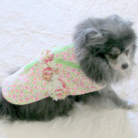 Corduroy Little Canine's Dress - Pinwale Made to Order White, Green and Pink Floral Print w/Shabby Chic Rose and Gingham Trim