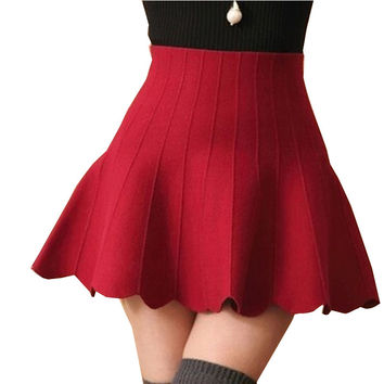 Autumn And Winter 2016 cotton Skirt Woman Knitted Elastic High Waist Mini Skirt Pleated Flared Flounce Short Skirts tutu Ladies