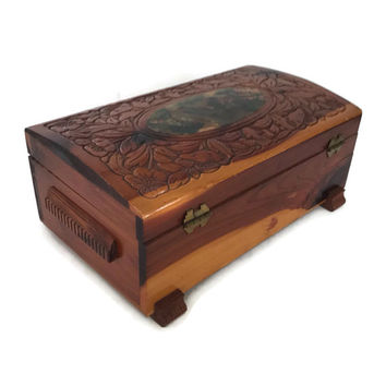 Vintage Wooden Jewelry Box Carved Wood with Decoupage Country Scene Hinged Top Handmade Trinket Storage Box