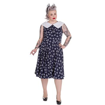 Hell Bunny Navy Blue & White Flat Collar Bird Print Ada Swing Dress