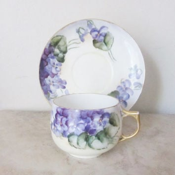 Rare antique Limoges tea cup ~AKD Klingenberg Dwenger Limoges France ~ teacup saucer ~ hand painted Limoges violets ~ French tea cup