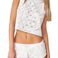White Lace Co-ords with Open Back