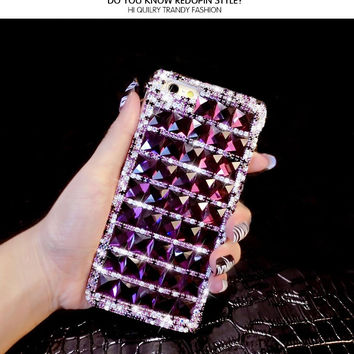 Bling Purple Diamond Phone Case For iPhone 7 6 6S Plus 5 5S SE 5C 4S Samsung Galaxy Note 7 5 4 3 2 S7 S6 Edge Plus S5/4/3 A8/7/5