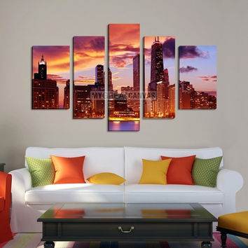Extra Large Wall Art CHICAGO Canvas Print - Colorful Chicago Skyline from Ocean