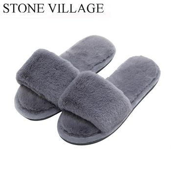 Woman's Fur Fluffy Furry Fuzzy Slipper Flip Flop Open Toe Plush Cozy House Sandal Soft Winter Flat Anti-Slip Spa Indoor Shoes
