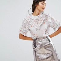 Lost Ink Short Sleeve Top With Frills at asos.com