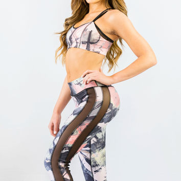 Nina B Roze Double Mesh Yoga Capri Painted Art