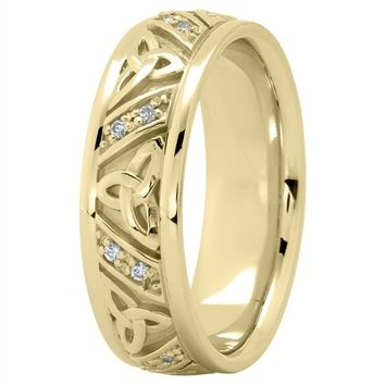 Wedding Band - 18K Yellow Gold Celtic Knot Diamond Wedding Ring 7mm