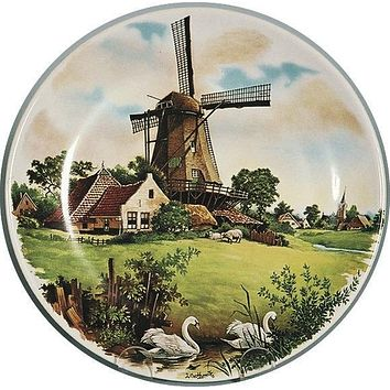 Souvenir Plate Windmill Swan Color
