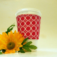 Pink and White Fabric Coffee Cozy/ Cup Sleeve/ Beverage Sleeve/ Coffee Sleeve/ Beverage Cozy/ Coffee Cup Sleeve/ Coffee Cuff