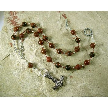 Thor Prayer Bead Necklace in Mahogany Obsidian:  Norse God of Thunder, Protector of Humanity
