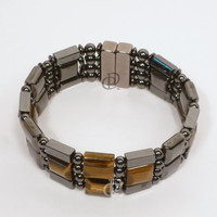 Magnetic Bracelet Tigereye and Black Hematite Beads 5,000 Gauss Clasp