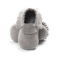 PU Suede Leather Newborn Baby Boy Girl Soft Moccs Shoes Fringe Soft Crib Shoes