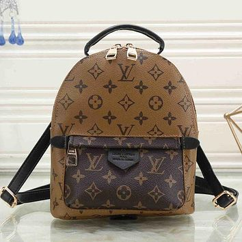 LV Louis Vuitton Clasic Fashionable Women Daypack School Bag Leather  Backpack 08864393f555a