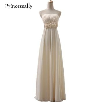 Bridesmaid Dresses Champagne Long Strapless Chiffon Empire Flower Waist Wedding Party Bridesmaid Dresses Plus Size Custom Made