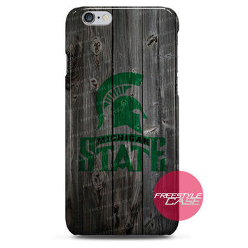 Michigan State Spartans Wood iPhone Case 3, 4, 5, 6 Cover