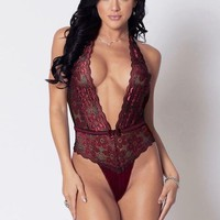 Lace Deep V Neckline teddy