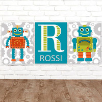 ROBOT Wall Art, Robot Decor, Big Boy Room Pictures, Robot Theme Artwork, Robot Birthday Gift, Boy Name CANVAS or Prints, Set of 3 Wall Decor