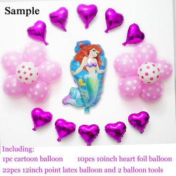23pcs birthday balloons set Ariel princess balloon helium foil cartoon character balloons party supply little mermaid balloons