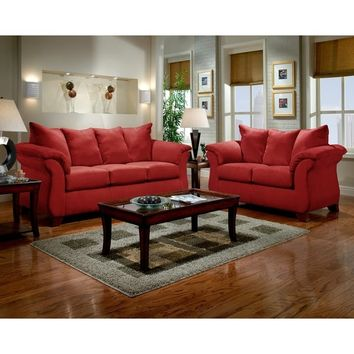 Sensations Microfiber Pillow Back Sofa and Loveseat Set, Red | Overstock.com Shopping - The Best Deals on Sofas & Loveseats