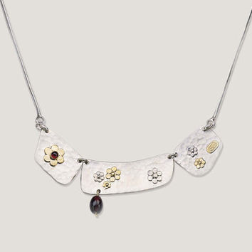 """Silver Necklace With A 9K Gold Flowers  Connected to A 925 Silver Chain 18"""" Designed by Talma Keshet"""