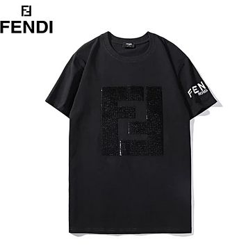 Fendi Fashion New Sequin Letter And Sleeve Embroidery Letter Couple Top T-Shirt Black