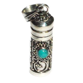Sterling Silver Cylinder Prayer Box Pendant with Stabilized Turquoise