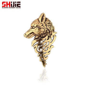 Vintage gold silver Brooches for women men lapel pin wolf collar broches jewelry fashion Brooch pins bijoux femme broche Shijie