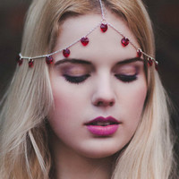 Red Heart Crystal Chain Hair Crown