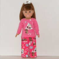 American Girl Doll Christmas Pink Pajamas with Dogs & Snowflakes