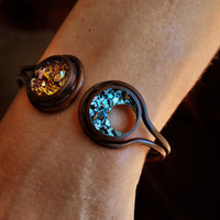 Sun and Moon, Custom Order,  Metal Crystal Bismuth and Copper Cuff Bracelet, Iridescent Crystal, Beautiful Unique Metal Jewelry