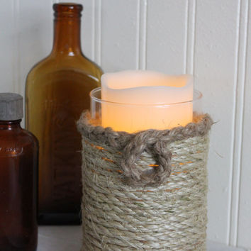 rustic decor wrapped vase / candle holder / nautical decor