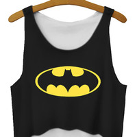Sleeveless Batman Print Crop Top