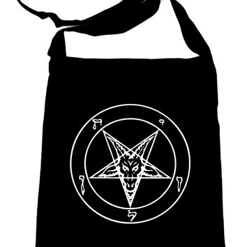 White Sigil of Baphomet on Black Sling Bag Occult Book Bag