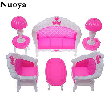 6Pcs/ Pack Dollhouse Furniture Living Room Parlour Sofa Chair Set Plastic for Barbie