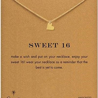 """Dogeared """"Sweet 16"""" Sparkle Heart Necklace, Gold Dipped 16"""""""