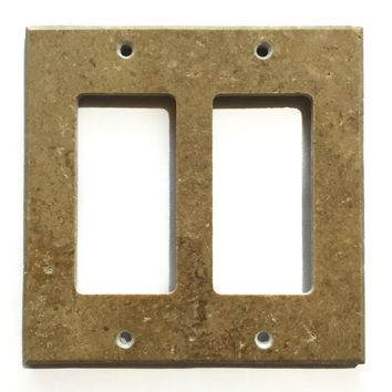 Noce Travertine Double Rocker Switch Wall Plate / Switch Plate / Cover - Honed